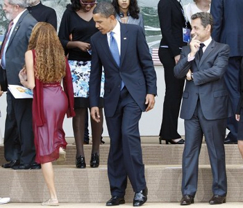 Obama Looking at a Girl in G8 Summit